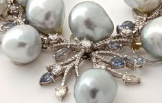 Diamond South Sea Baroque Pearl Gold Sapphire Necklace close-up