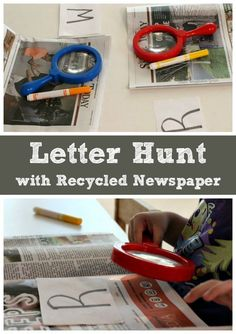 Newspaper Letter Hunt for Kids Learning Letters With Recycled Newspaper! ABC learning game for preschoolers to practice letter recognition.Learning Letters With Recycled Newspaper! ABC learning game for preschoolers to practice letter recognition. Abc Learning Games, Learning Games For Preschoolers, Letter Activities, Learning Letters, Letter Games, Kids Learning, Alphabet Games, Abc Games, Learning Spanish