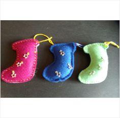 3 x hand made felt christmas stocking hanging decoration. Lucky dip on eBid United Kingdom