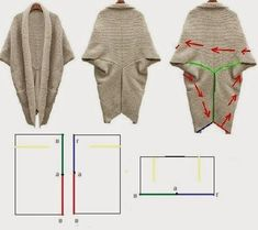a cardigan of this type would be simple and easy enough but this image can serve merely as knitspiration as there is no knitting pattern to be found - PIPicStats Sewing Patterns Free, Free Sewing, Sewing Tutorials, Clothing Patterns, Knitting Patterns, Knitting Ideas, Dress Patterns, Diy Clothing, Sewing Clothes