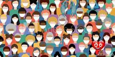 Illustration of diverse crowd of people wearing medical masks for prevention of virus transmission. New corona virus COVID-19 concept. Vector seamless pattern. #AD , #medical, #wearing, #prevention, #masks, #diverse<br> Hanging Flowers, Quote Backgrounds, Holiday Looks, Plus Size Wedding, Mask Design, New Trends, Selena Gomez, Masks, Etsy Seller