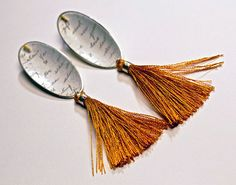 'Darling Margaret' – earrings in enamelled copper with handwriting and tassels by Rebecca E Smith, Duncan of Jordanstone College of Art and Design, Dundee.