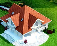 Proiect-casa-cu-Mansarda-18011-perspectiva House Doors, Facade House, Rest House, My House, Home Building Design, Building A House, Cabana, Bungalow Style House, House Construction Plan