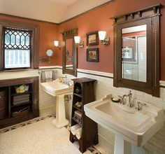 Love the wall color.... SW 2838 Polished Mahogany by Sherwin-Williams! Craftsman Full Bathroom - Find more amazing designs on Zillow Digs!