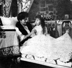 "Empress Alexandra Feodorovna of Russia with her daughter,Grand Duchess Anastasia Nikolaevna Romanova of Russia. ""AL"""