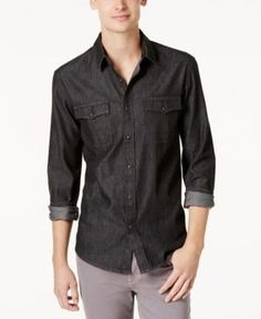 American Rag Men's Big & Tall Deija Solid Denim Shirt, Created for Macy's - Black 2XLT