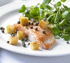 Pan-fried salmon with watercress, polenta croutons & capers. Heart-healthy salmon is ideal for a dinner party. Use pre-cooked polenta to make this main course recipe even easier Fish Recipes, Seafood Recipes, Gourmet Recipes, Dinner Recipes, Watercress Recipes, How To Cook Polenta, Ginger Salmon, Pan Fried Salmon, Smoked Fish