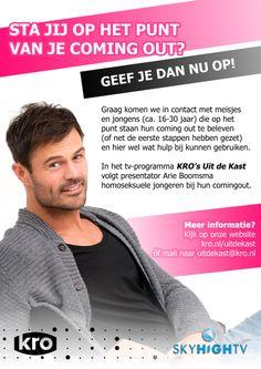 Er komt dit najaar weer een nieuw seizoen van KRO's Uit de Kast. In het programma volgt presentator Arie Boomsma homoseksuele jongeren bij hun coming out.