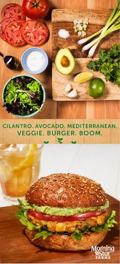 This Cilantro Avocado Mediterranean Burger has so much taste, you'll ask what bands it's listening to.