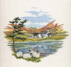 Lakeside Farm Cross Stitch Kit from Derwentwater Designs