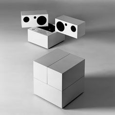 Totem Stereo System with detachable speakers, Model RR 130, designed by Mario Bellini for Brionvega. c.1970.