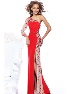 A-line One Shoulder Long Sleeve Elastic Woven Satin Evening Dresses With Rhinestone #FJ408