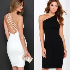 2015 Summer Dress Backless Sexy Club Party Dress One Shoulder Sleeveless Sheath Women Dresses Sexy Dresses, Short Dresses, Fashion Dresses, Formal Dresses, Pretty Outfits, Stylish Outfits, Beautiful Outfits, Summer Dresses 2017, Summer Dresses For Women