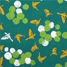 green soaring bird echino Decoro cotton sateen fabric