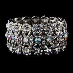 Glitzy Antique Silver Bowtie Stretch Bracelet w/ Clear & Aurora Borealis Crystals
