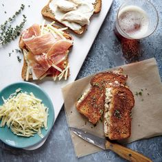 Chicken Cordon Bleu Grilled Cheese Sandwiches Recipe Lunch with olive oil, country bread, gruyere cheese, prosciutto, rotisserie chicken breast, reduced-fat sour cream, dijon mustard, unsalted butter, fresh thyme leaves