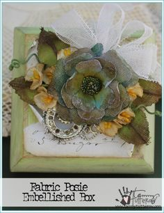 Fabric Posies Embellished Box | www.tammytutterow.com | DIY Vintage Style Handmade Flowers