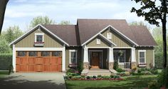 Craftsman House Plan Front of Home 077D-0222  from houseplansandmore.com