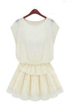 Short Sleeves Pure Color Round Neck Flouncing Chiffon Dress [FXBI0040]- US$ 67.99 - PersunMall.com