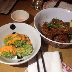 Tofu balls and double fried wings | Yelp eat at button mash in echo park. Also amazing bun cha ha noi Vietnamese rice noodle soup