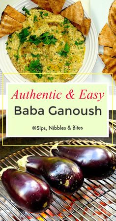 My super easy and Authentic Baba Ganoush recipe has a terrific flavor and is very simple to make. A healthy, mildly tart, smoky and. Mediterranean Eggplant Recipe, Mediterranean Diet Recipes, Mediterranean Dip, Middle East Food, Middle Eastern Recipes, Middle Eastern Eggplant Recipe, Greek Recipes, Indian Food Recipes, Asian Recipes