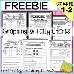Graphing for and Grade-Are you looking for fun practice for your kiddos while learning about graphs? These free printables will compliment any lesson. Included are 7 graphs in this bundle- Tally charts, bar graphs and pictographs! Graphing Worksheets, Graphing Activities, 1st Grade Worksheets, Preschool Graphs, Math Manipulatives, Second Grade Freebies, Second Grade Math, Grade 1, 2nd Grade Teacher