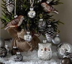 Silver Critters Ornament Set, Set of 20 #potterybarn #ChristmasDecorations