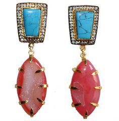 Exquisite fashion jewelry with stones and gold polish. Fashion earrings