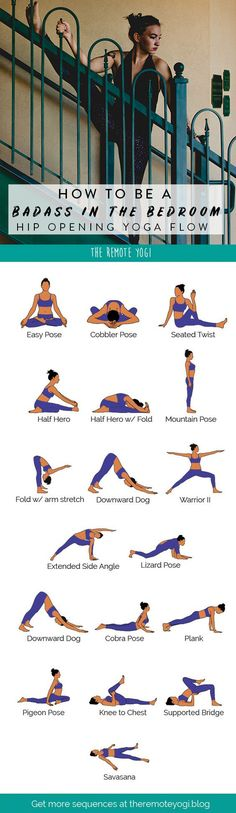 Open Your Hips for Better Sex! Stretch out the hips and enjoy this twenty minute yoga sequence. Gain flexibility and openness with this free printable PDF. The post Open Your Hips for Better Sex! Yoga Bewegungen, Yoga Moves, Yoga Meditation, Yoga Workouts, Yoga Flow Sequence, Yoga Sequences, Fitness Inspiration, Yoga Inspiration, Yoga Fitness