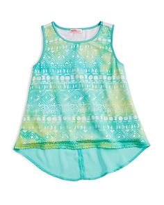 Design History Girls' Burnout Mixed Media Tank - Sizes S-xl