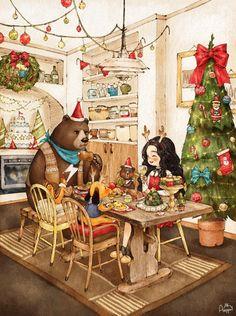 정성껏 준비한 요리들과 맛있는 다과, 온통 크리스마스 분위기로 꾸며진 집 안에서 다같이 모여 크리스마스 파티를 해요! 각자 준비한 산타모자와 머리띠를 쓰고, 루돌프 강아지에게는 특별히 빨간 큰 코를 달아주었어요. 함께 있어 더욱 즐거운 크리스마스가 될 것 같아요!