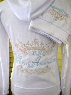 Deluxe velour bride hoodie set with custom embroidered crown and last Mrs. name. Perfect for getting ready and honeymoon by MichaelAngela