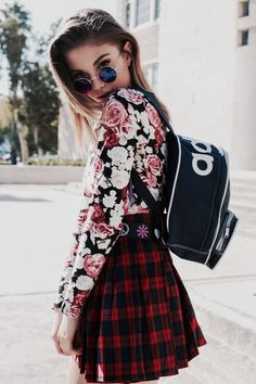 """When I was younger and didn't know much about fashion I would never, ever wear an outfit like this because I thought you couldn't wear stuff that didn't """"match"""". But the different patterns look amazing together and create a really edgy and hipster, yet girly outfit. Loving it."""