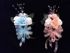 Baby Sock Rose Corsage Baby Shower Gift It's A Boy or Girl Ribbon