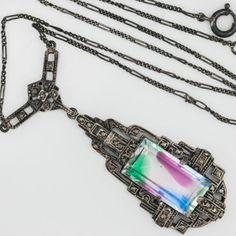 Antique-C-1920-Deco-Sterling-Silver-Watermelon-Rainbow-Paste-Lavaliere-Necklace