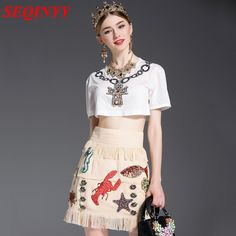 Fashion Embroidery Skirt Set 2017 Summer Sexy Cool White Beading O-Neck Short Top + Linen Sequined Animals Tassel Mini Skirt #Affiliate