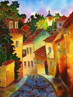Cobblestone Road::Painting on Silk. Art And Illustration, Fine Art Prints, Canvas Prints, Silk Art, Fabric Painting, Painting Art, Road Painting, Naive Art, Art Plastique