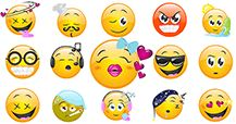 Our collection of sweet smileys is ready for you to share with your friends on Facebook.
