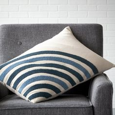 domino By The Company Store® Circle Embroidered Pillow Cover Collection - Curves ahead. Lavishly crewel-embroidered on cotton canvas, our pillow cover brings a bold, modern sensibility to the sofa, bed, or your favorite hangout.