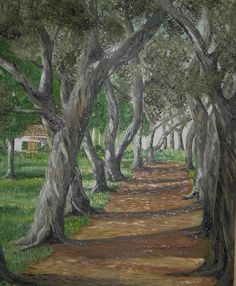 Landscape Painting - Olive Trees by Anna Witkowska Landscape Paintings, Tree Paintings, Fruit Painting, Olive Tree, Sale Poster, Pictures To Paint, Art Photography, Fine Art Prints, Street Art