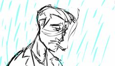 One of our unreleased animation sketches of a man smoking.