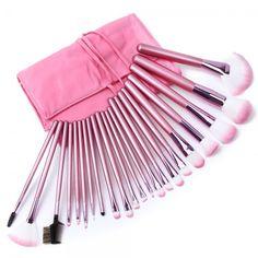 Makeup Brush Set Pink 22 pcs Superior Professional Soft Cosmetic Bag Case