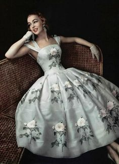 1956 Givenchy dress with hand applied bouquet detail. - this classy style needs to come back into popularity 50s pale blue party dress cocktail formal prom evening embroidered white flowers green leaves silk satin