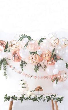 Decorative Balloon – Baby Shower Ideas – Girl Pink Baby Shower - New Deko Sites Balloon Arch, Balloon Garland, Balloon Decorations, Birthday Decorations, Rose Gold Balloons, Foil Balloons, Latex Balloons, Deco Ballon, Baby Shower Balloons