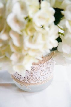 Lace and Burlap Wrapped Vase for your wedding reception tables