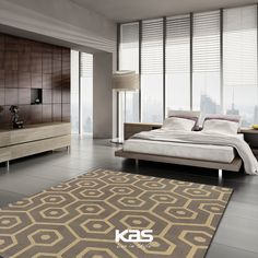 """The mod feel of the Natura Slate Mosaic #rug is very much in style today. #ColorWithKAS Don't forget to enter our #Fall #Free Rug Giveaway! REPIN, LIKE, and TAG A FRIEND on our #giveaway post (located on our """"Free Giveaway"""" board) for a chance to win!>>> https://www.pinterest.com/kasrugs/free-giveaway/ #Contest #Bedroom #Rugs"""