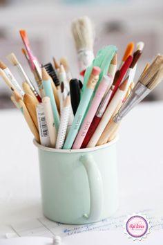 Mint, pastel, Syl loves, enamel, workspace