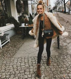 Sherpa Coat for Fall adds a Boho Vibe when paired with skinny jeans, scarves and boots. Boho Style