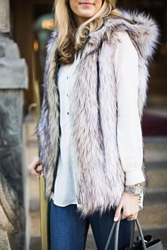 Faux Fur | Ivory Lane hooded vest