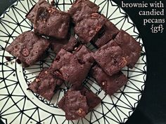 BROWNIES WITH CANDIED PECANS {GLUTEN FREE} — GLUTENEMY Candied Pecans, Gluten Free Recipes, Free Food, Brownies, Desserts, Deserts, Dessert, Postres, Gluten Free Menu